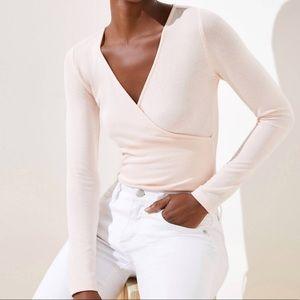 Loft Blush Whisper Wrap Bodysuit NWT